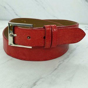 Joan and David, too Red Embossed Belt Size Large